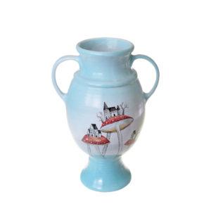 ваза бело-голубая с рисунком домики-грибы с ручками на ножке