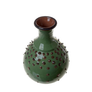 ваза зеленая с шипами на тулове. каплевидная