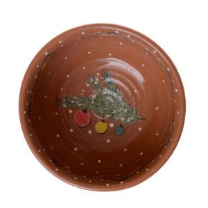 Тарелка глубокая с рисунком фонарики и гирлянды